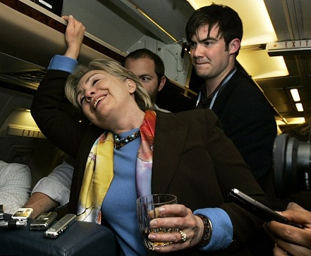 She gets drunk on airplanes.