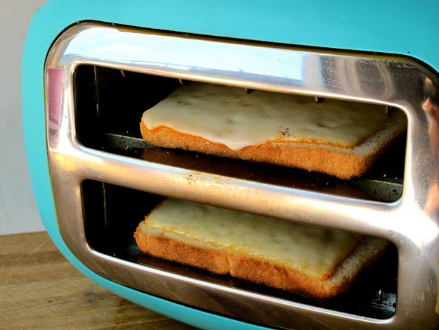 Turning A Toaster Sideways To Get Grilled Cheese