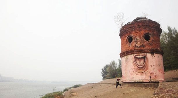 Russian Graffiti Artist Turns Buildings Into Giant Characters  от Veggie за 22 nov 2012