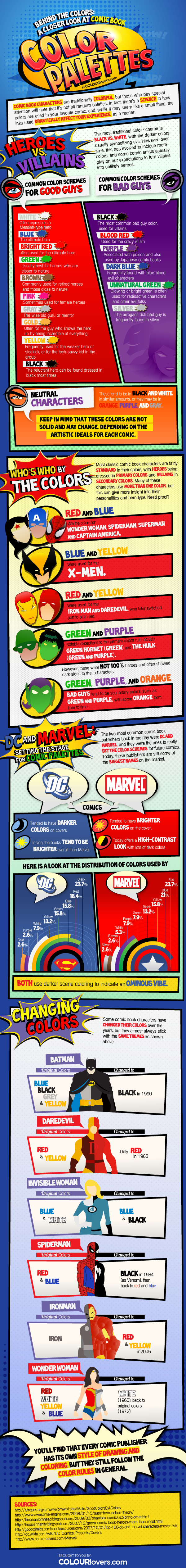 The Superhero Colors of Good vs. Evil (INFOGRAPHIC) от Veggie за 27 nov 2012