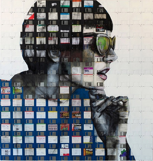 Utterly Dazzling Portraits Created Using Floppy Disks