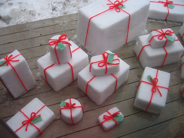 Christmas Gifts Wrapped In Snow