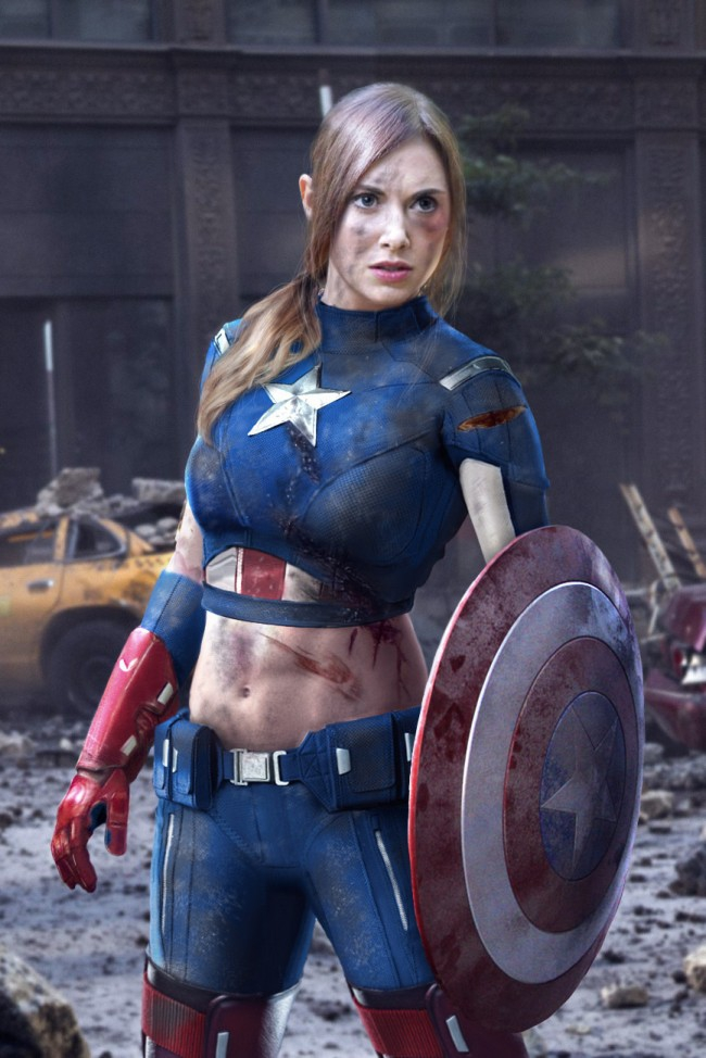 Alison Brie As Captain America FTW!