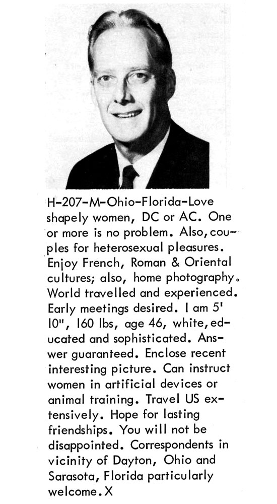 Bizzare Men's Personal Ads From 1960's