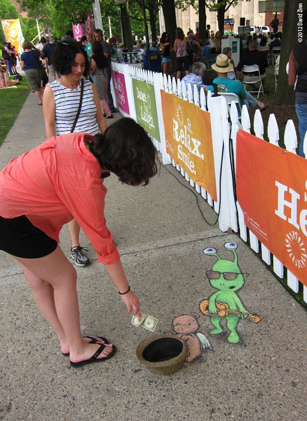 Sweet Sluggo Chalk Art by David Zinn