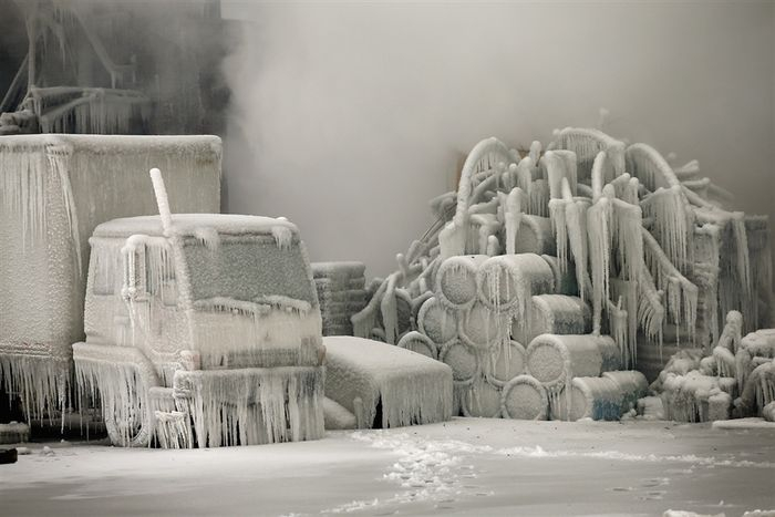 Ice Sculptures after a Fire in Chicago