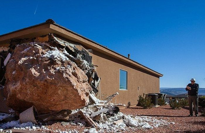 Huge Boulder Smashes Into Bedroom