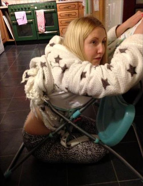 Drunk Mom Got Stuck in a Baby Chair