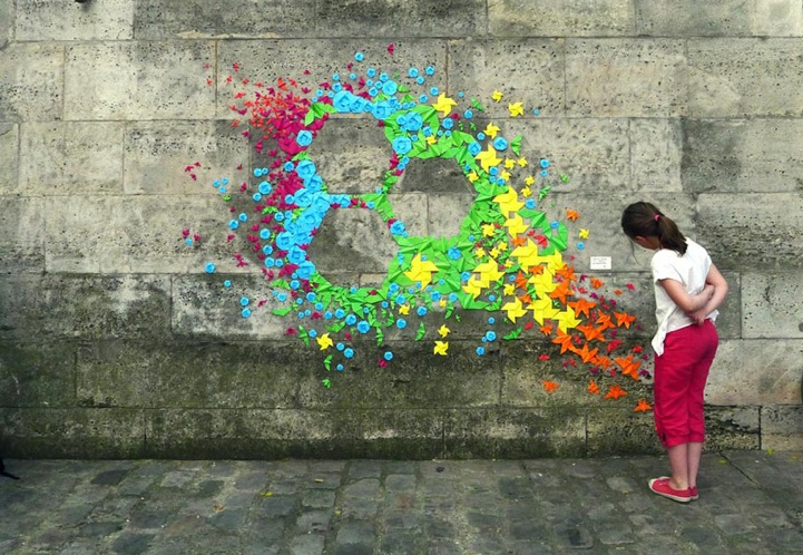More Rainbow Origami Installations by Mademoiselle Maurice