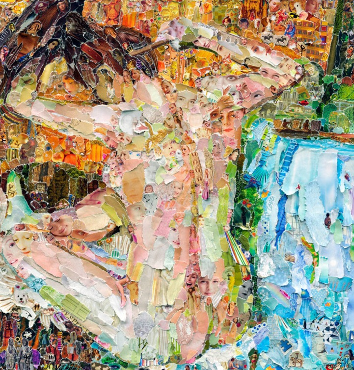 Classic Masterpiece Paintings Made of Shredded Magazines