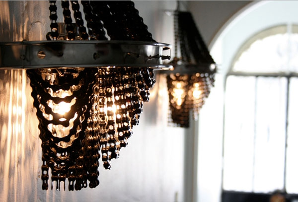 Dumped Bicycle Chains Made Into Chandeliers