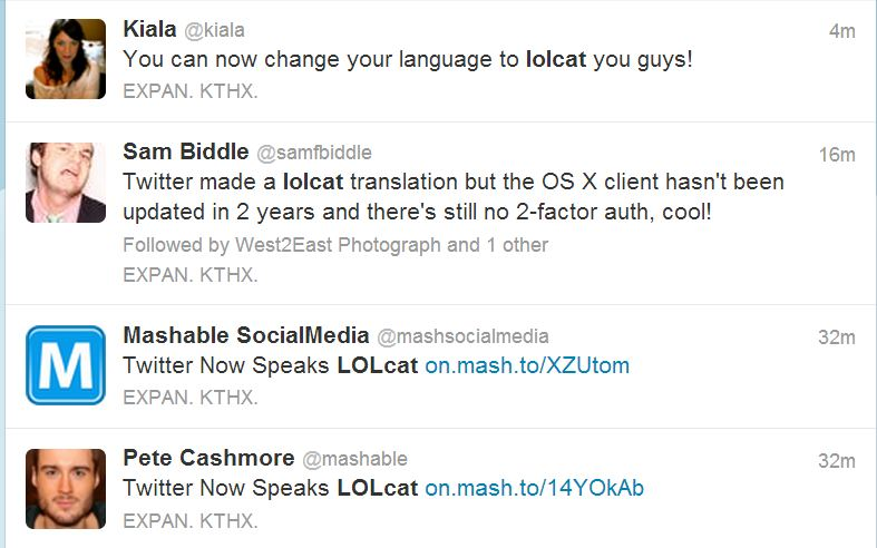 U Can Haz LOLCat Speaks on Twitter Nao.