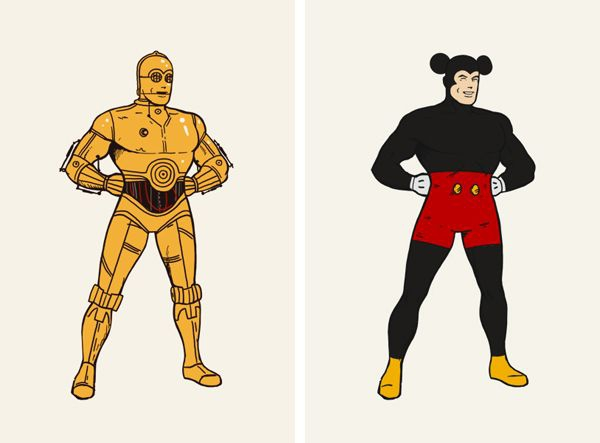 superman c3po mickey mouse