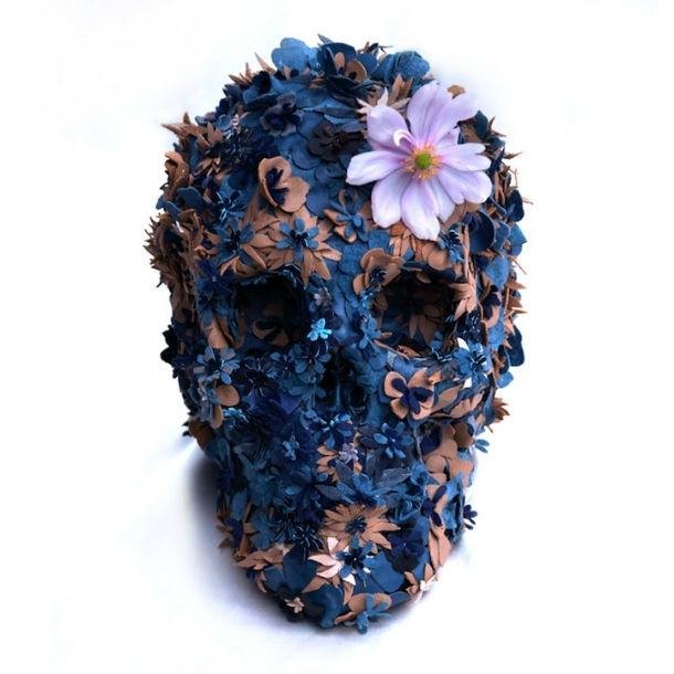 Simply Beautiful Floral Skulls Stitched From Leather