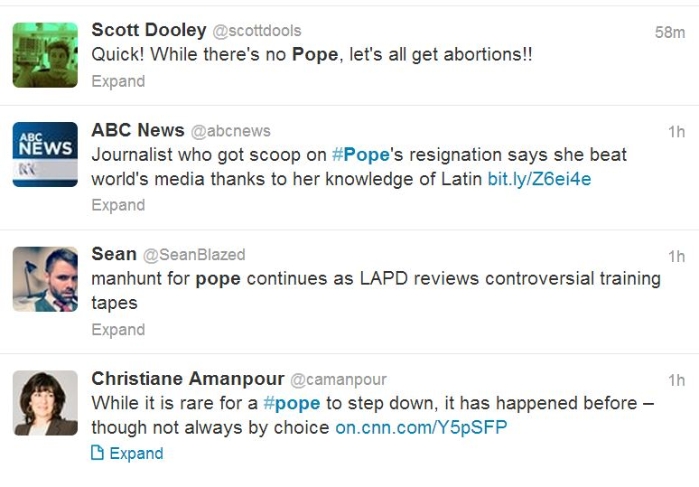 Now that the Pope Quit, What are people Saying about it?