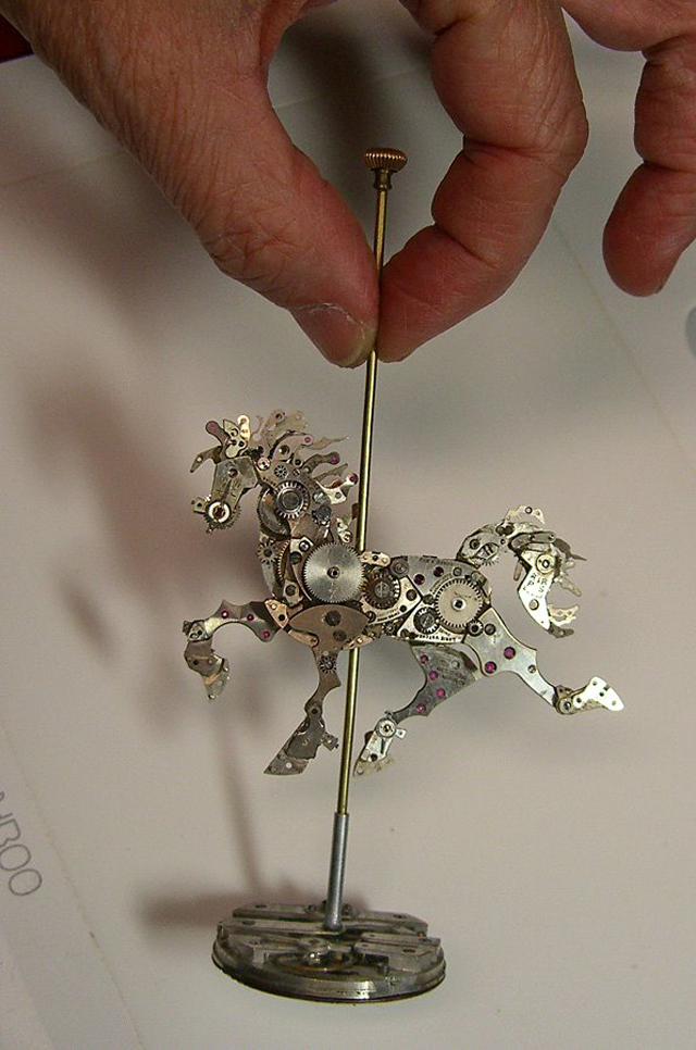 Tiny Sculptures Made form Old Watch Parts