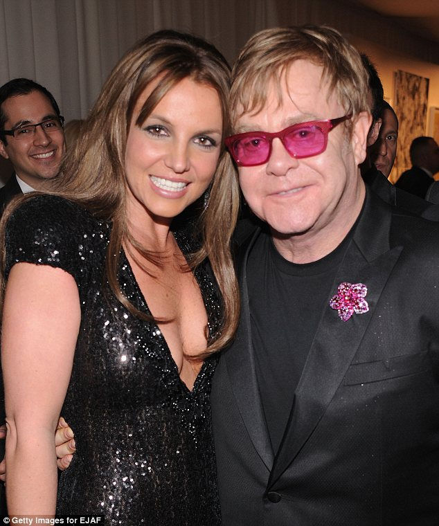 britney spears, sexy, black dress, elton john