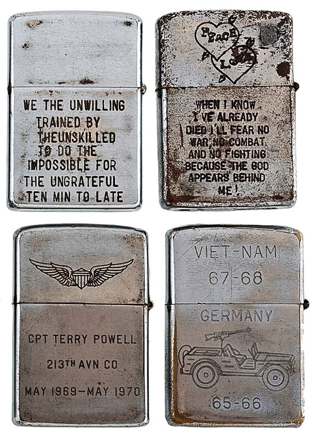 Soldiers' Engraved Lighters from the Vietnam War