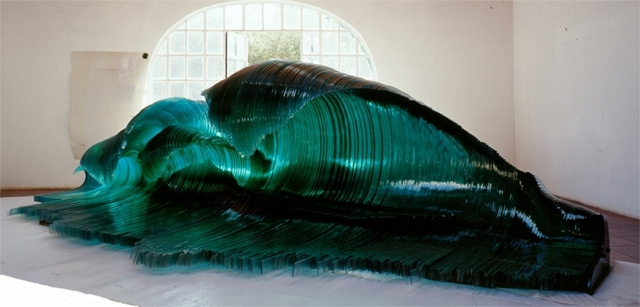 Giant Natural Waves Sculpted With Glass and Wood