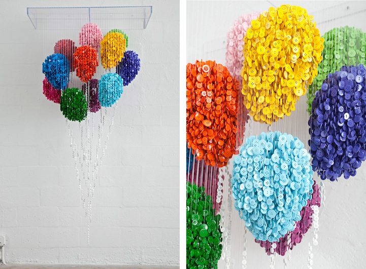 Incredible Spatial Sculptures Using Colorful Suspended Buttons