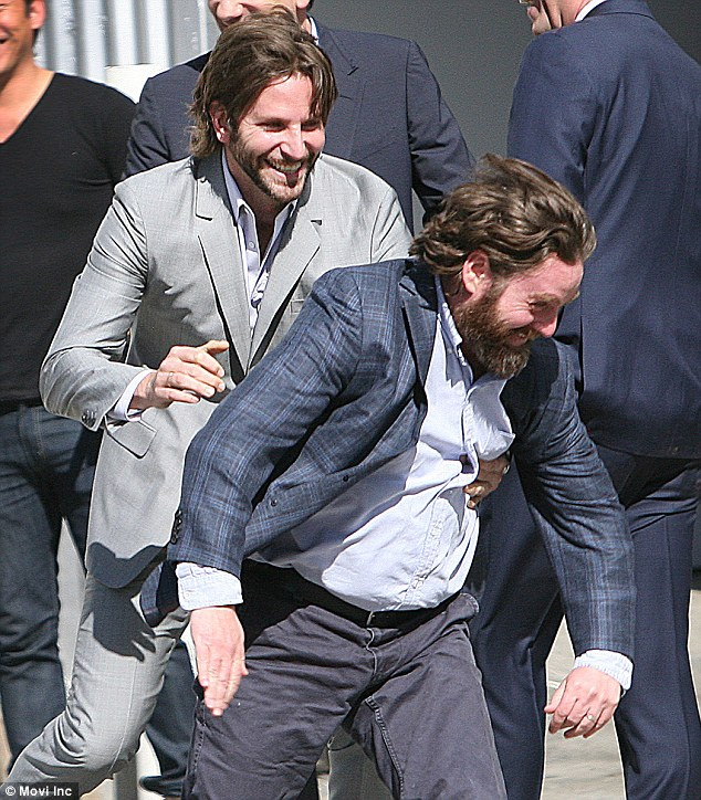 Bradley Cooper and Zach Galifianakis Horse Around