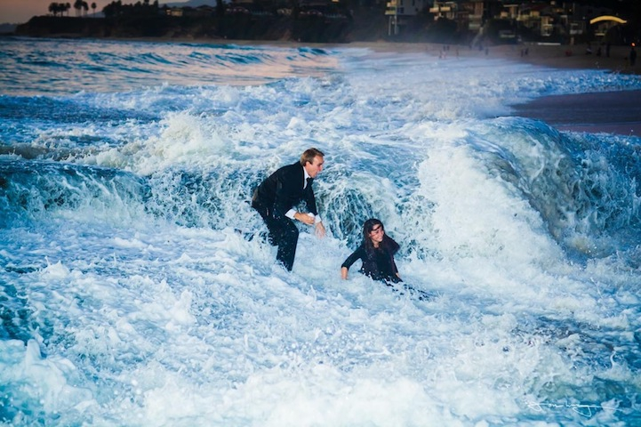 Giant Wave Interrupts Beach Wedding Proposal