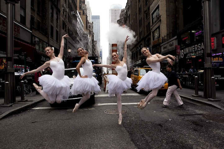 Beautifully Elegant Dancers Pose Along City Streets