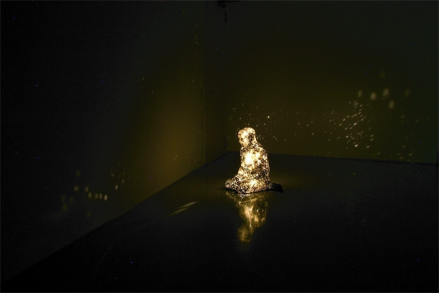 Solitary Human Figures Project Bright Starry Lights