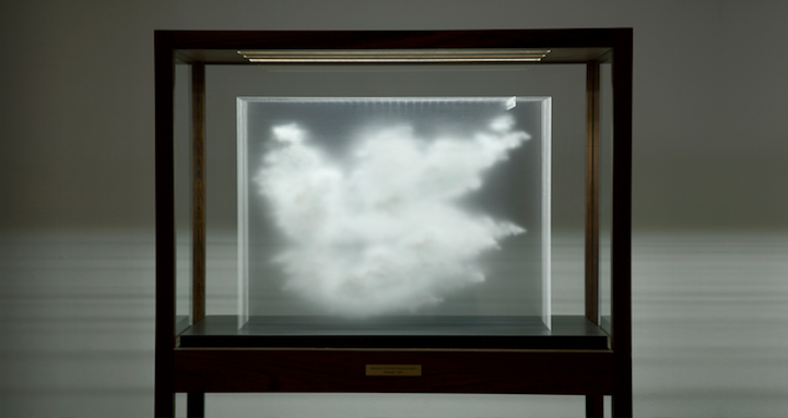 Three-Dimensional Clouds Appear in Layered Glass