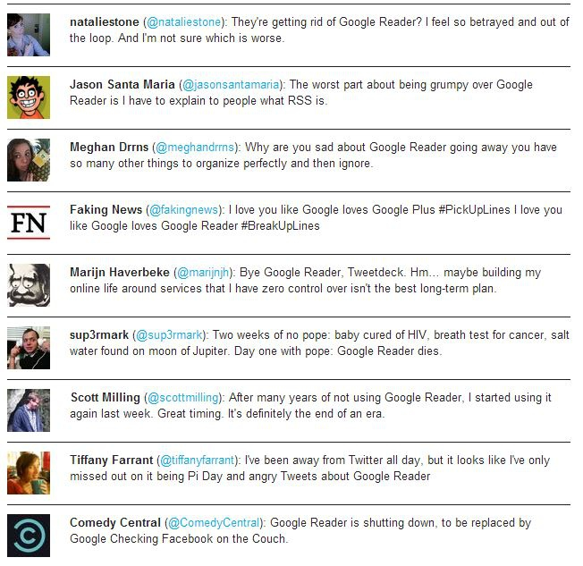 Twitter Mourns the Death of Google Reader