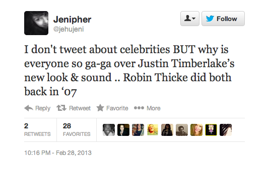 Robin Thicke Fans Who Aren't Impressed by Justin Timberlake's Comeback