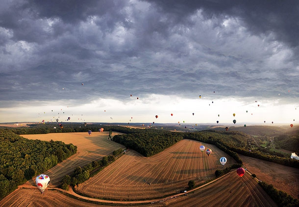 Balloons Launched at France's Chambley-Bussieres Aerodrome