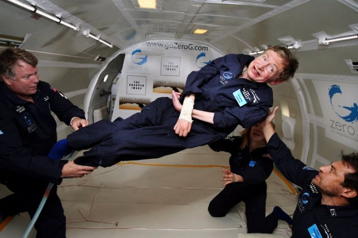 Stephen Hawking in the Vomit Comet