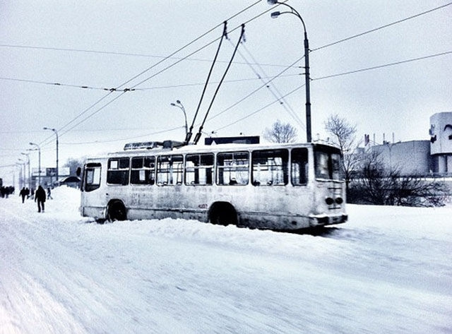 Public Transit Covered In Snow