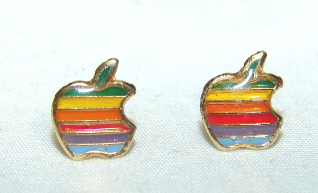 Authentic '80s Apple Logo Rainbow Earrings, $109.99