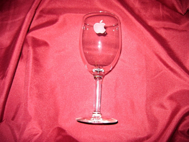 Vintage Apple Computer Etched Wine Glass, $66