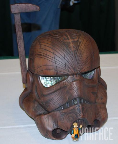 wooden carve storm trooper helmet