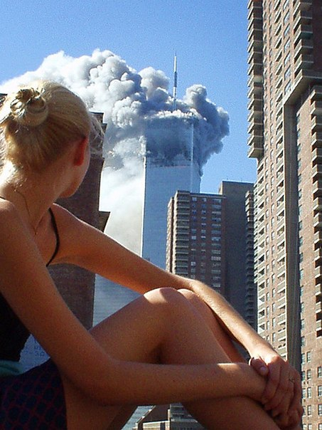 Australian Model Distracted, Picture Taken Moments After First Plane on 9/11