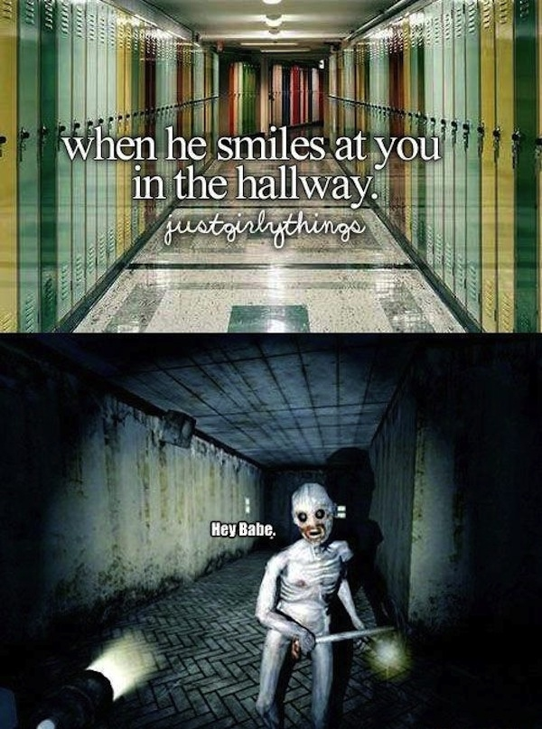 Smiling In A Hallway