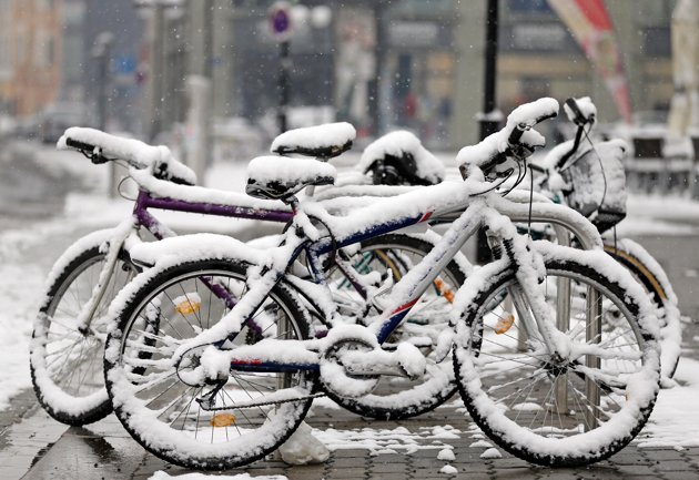 Snow Covered Bikes