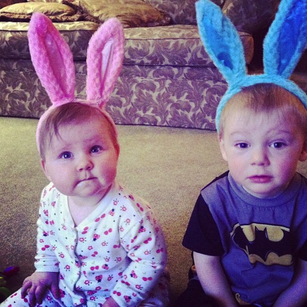 Two Cute Easter Bunny Children