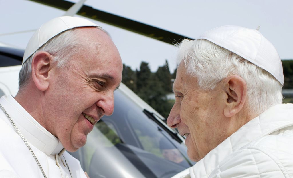 Pope Francis and Pope  Benedict XVI Meet Face To Face
