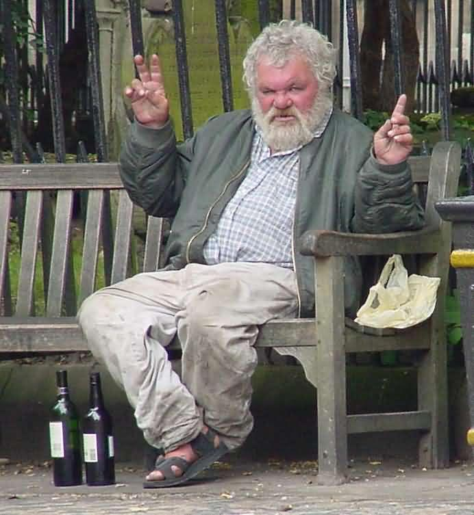 Old Drunk Man On Bench