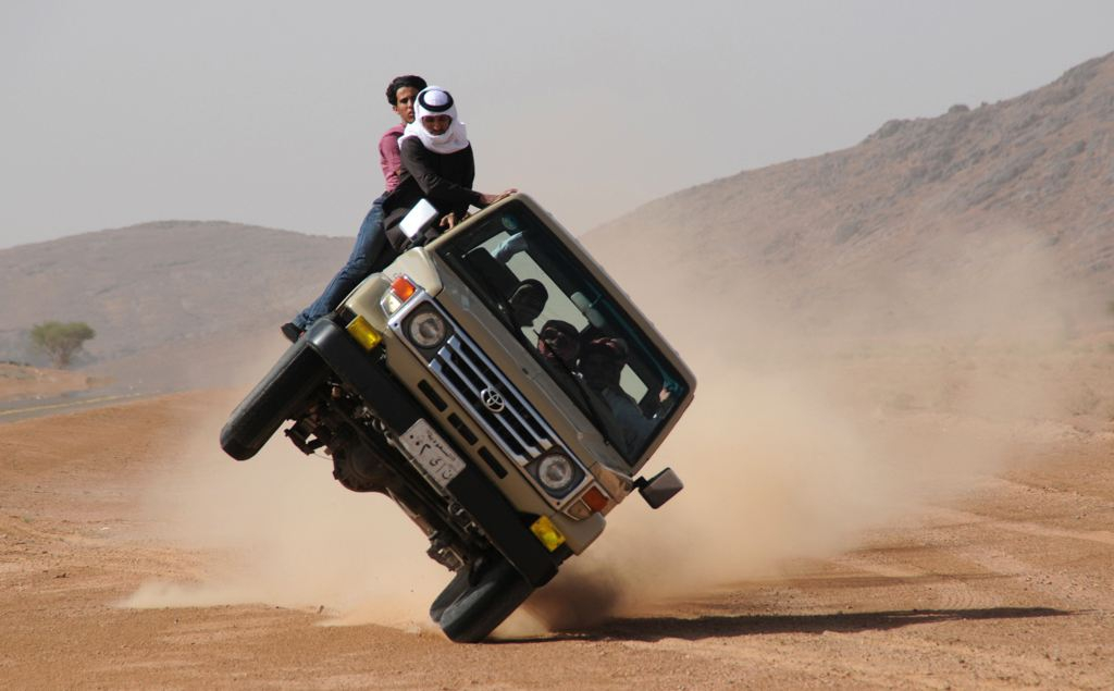 Sidewall Skiing In Saudi Arabia two wheel driving