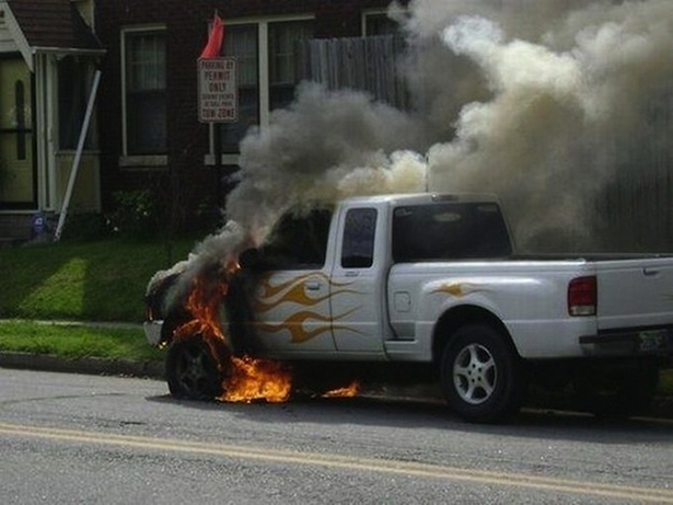 Flame painted car on fire