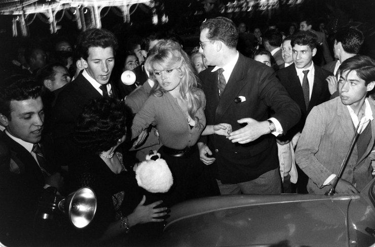 Brigitte Bardot in a crowd