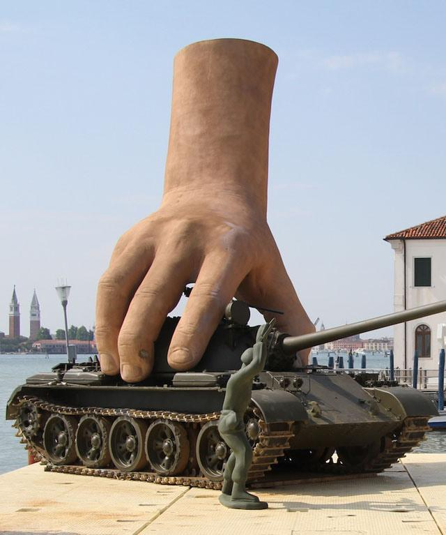 Playing With Tank Sculpture