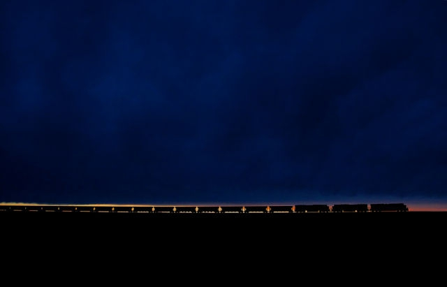 Coal train at sunset