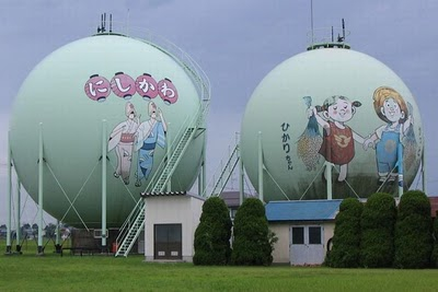 A gas tanks with  drawings in Japan