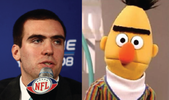 Joe Flacco and Bert from Sesame Street
